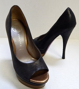 Versace Bronze Double Black Pumps