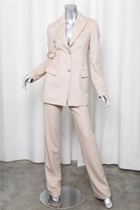 Versace Versace Beige Two-button Blazer Jacketstraight Leg Trouser Pant Suit 404
