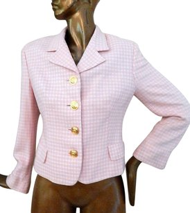Versace Versace Jeans Couture Pink White Check Medusa Button Blazer Jacket