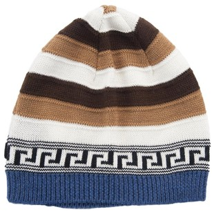 Versace Versace Brown/White Knitted Wool Blend Beanie Hat
