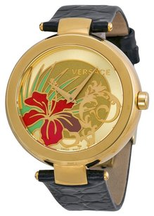 Versace Versace Mistique White Hibiscus Black Leather Ladies Watch I9Q80D2HI-S009