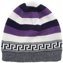 Versace Versace Purple/White Knitted Wool Blend Beanie Hat