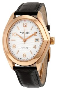 Versace VERSACE V-Master Automatic White Dial Black Leather Men's Watch VER-20A380D001S009