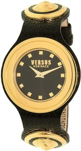 Versace Versus by Versace Women's Carnaby Street Black Leather Quartz Watch