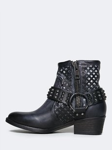 Very Volatile Ankle Distressed Chunky Heel Zipper Closure Pointed Toe Black PU Boots