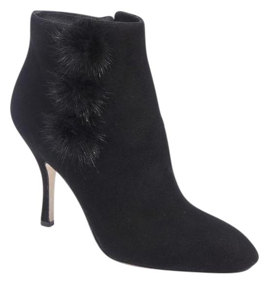 Via Spiga Mink-Trimmed Suede Booties