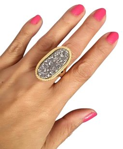 Viale 18K Italian Gold 18K Solid Yellow Gold Drusy Elongated Ring Sz7