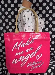 Victoria's Secret Make Me An Angel Canvas Pinkwhite Heart Tote in Pink