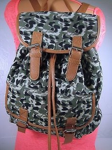 Victoria's Secret 2b By Bebe Army Camo Backpack Jungle Brown Trim Camouflage Green Messenger Bag