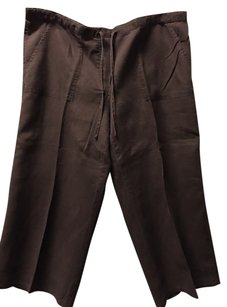 Victoria's Secret Chino Wide Leg Drawstring Linen Capris Brown