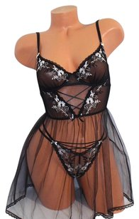 Victoria's Secret DREAM ANGELS EMBROIDERED TULLE BABYDOLL TEDDY BRA 34B PANTY M