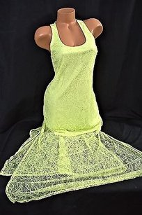 Victoria's Secret short dress Yellow Lace Maxi Lined Slit Legs on Tradesy