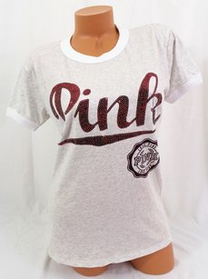 Victoria's Secret Victorias Pink Bling T Shirt Gray