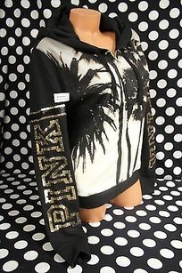 Victoria's Secret Victorias Secretpinksz Zip Sequin Bling Blacktropical Palm Sweatshirt