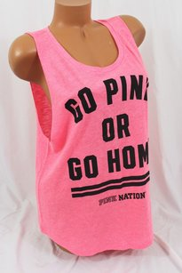 Victoria's Secret Nation Muscle Tank Go Or Go Home T Shirt Pink