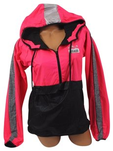 Victoria's Secret Pinksz Ml Anorak Windbreaker Jacket Redblackmarled Sweatshirt