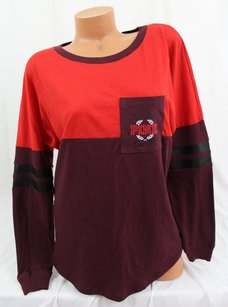 Victoria's Secret Victorias Pink Varsity T Shirt Red