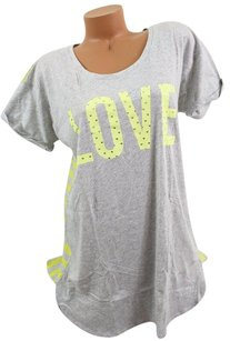 Victoria's Secret Victorias Secret Llove Heartsoft Sleep Tee Shirt Pajama Grayyellow Stripe