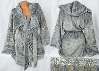 Victoria's Secret Victorias Secret Pinkmlhooded Cozy Spa Robe Plush Marled Gray Sequin Bling