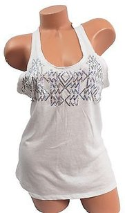 Victoria's Secret Pink Racerback Tank Aztec Sequin Bling T Shirt White