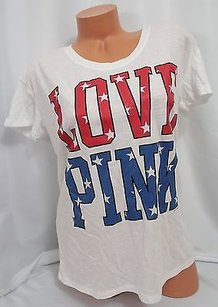 Victoria's Secret Spinkoversize July 4th Usa Red Blue Glitter Black T Shirt White