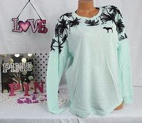 Victoria's Secret Pink Mvarsity Crew Mint Blue Black Puppy Palm Trees Sweatshirt