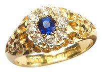 Other ANTIQUE ENGLISH LATE VICTORIAN 18K GOLD SAPPHIRE & DIAMOND CLUSTER RIN