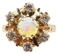 Other Victorian Yellow Gold Genuine Natural Opal Ring with Crystals (#432)