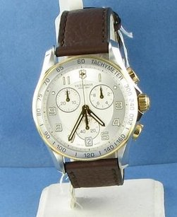 Victorinox Swiss Army 241510 Classic Chronograph Two Tone Silver Dial Brown Strap