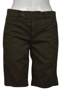 Vince Chino Womens Bermuda Cropped Trousers Shorts Olive Green