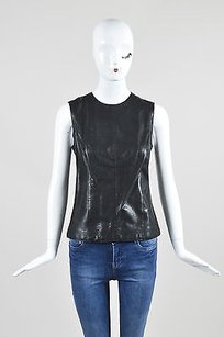 Vince Leather Top Black