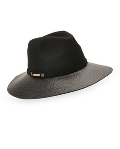 Vince Camuto Adjustable Fedora with Faux Leather Brim