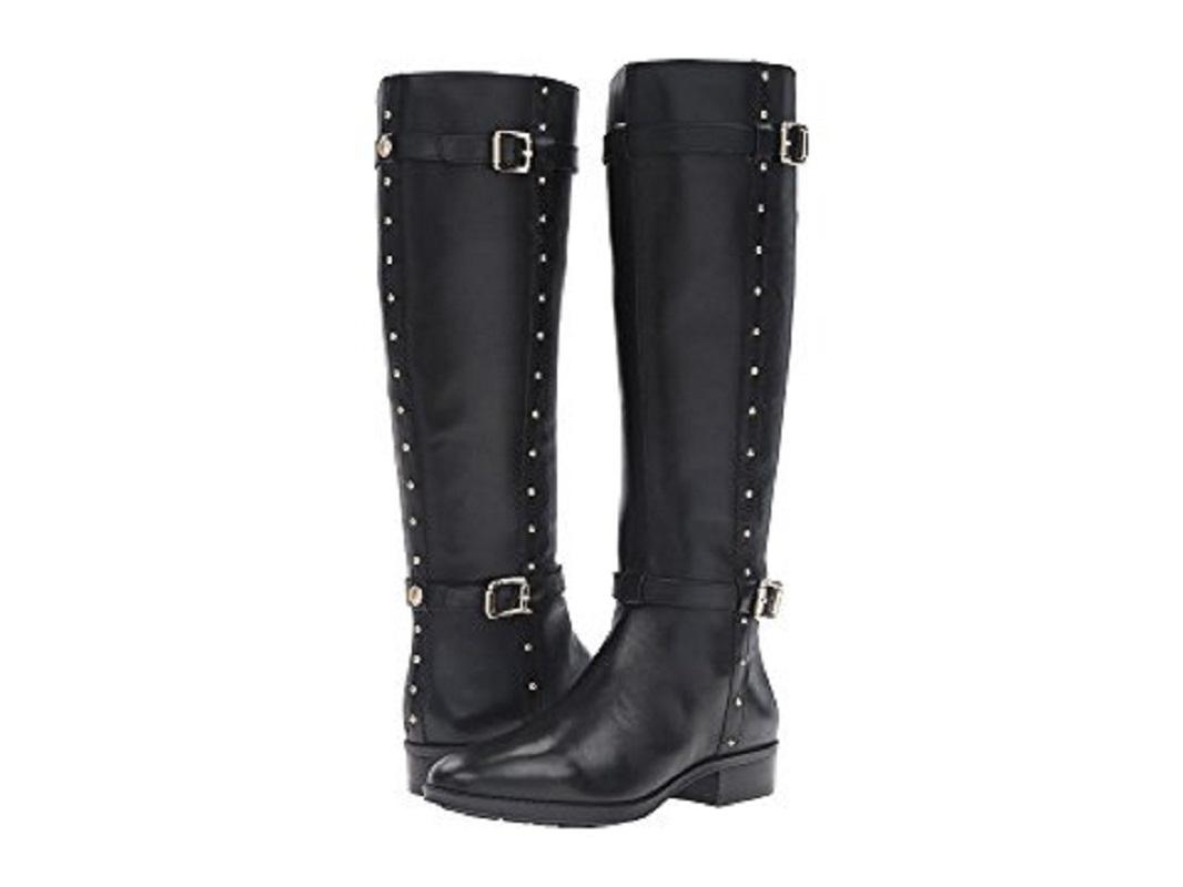 Vince Camuto Leather Studded Tall Riding Black Boots ...