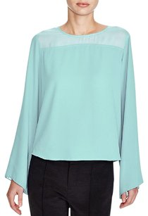 Vince Camuto Chiffon Keyhole Sheer Spring Machine Washable Top Blue