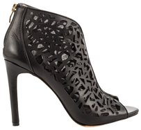 Vince Camuto Leather Cut-out Mesh Black Boots