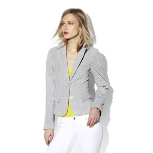 Vince Camuto Two By Vince Camuto Womens White Grey Striped Button Suit Jacket Blazer