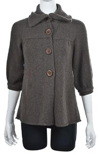 Vince Womens Taupe Brown Cardigan 34 Sleeve Wool Shirt Sweater