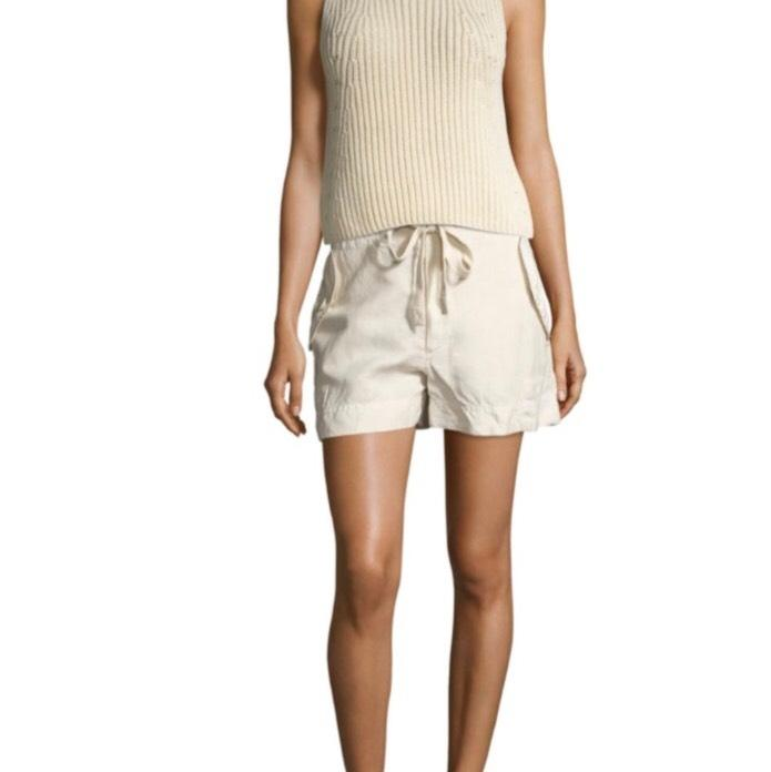 vince cream  off white chunky rib knit tank top  cami size