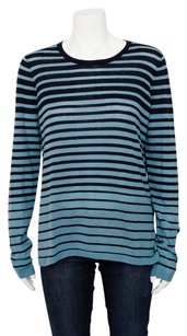 Vince Navy Green Stripe Sweater