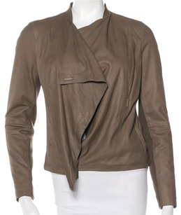 Vince Lambskin Leather Soft Cowl Taupe Leather Jacket