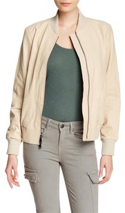 Vince Leather Luxury Soft Zipper Rib Knit Beige Leather Jacket