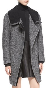 Vince Leather Wool Asymmetric Zip Pea Coat