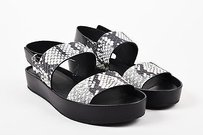Vince Black White Leather Black, White, Silver-Tone Sandals