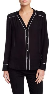 Vince Contrast Piping Trim Silk Button Up Shirt Pj Xs0 Top Black