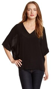 Vince Silk Crepe Hi Lo Top Black
