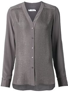 Vince Snakeskin Texture Top Gray