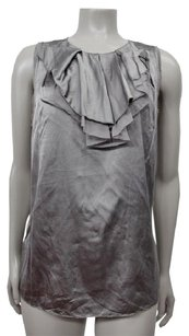 Vince Sateen Finish Ruffle Layer Neckline Top gray
