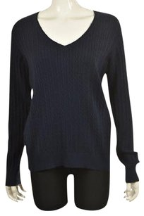 Vineyard Vines Womens Navy Cotton Cable Knit Sweater