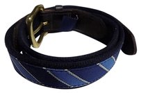 Vineyard Vines Vineyard Vines Dark Brown White Navy Blue And Gold Belt Canvas B3470
