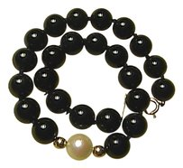 14k Solid Yellow Gold BLACK ONYX and Natural Pearl Bracelet